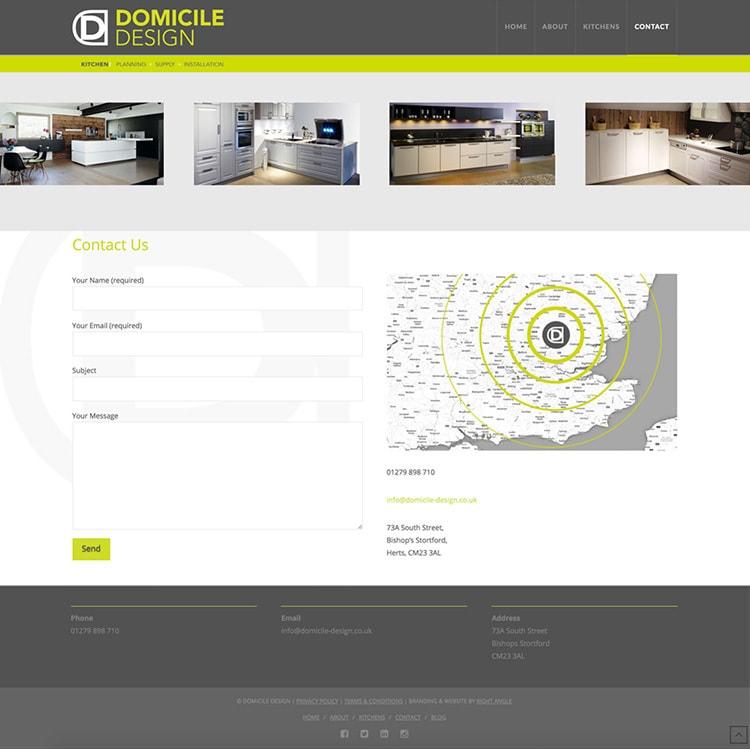Homepage showing Domicile Design symbol United Kingdom map with animated green radar for Domicile Design website