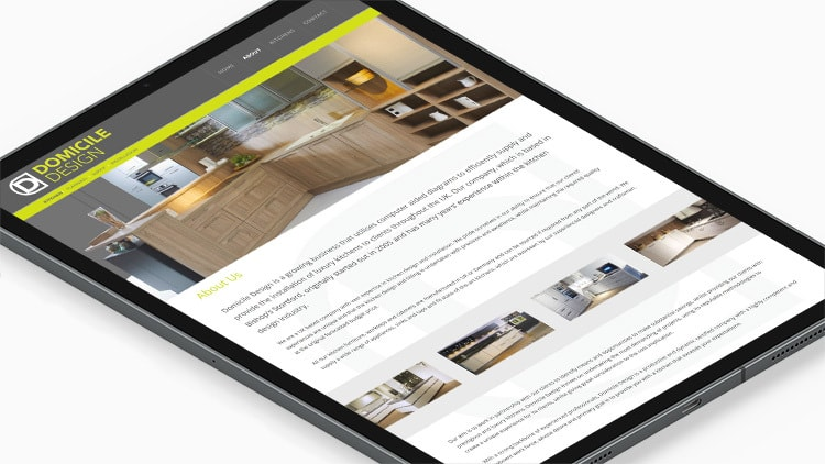 Tablet showing homepage of Domicile Design responsive website design