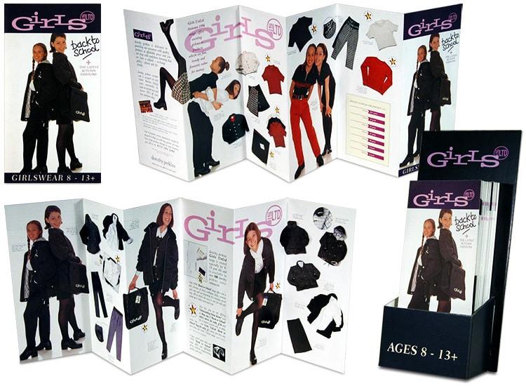 Dorothy Perkins Back to School girls promotional design leaflets