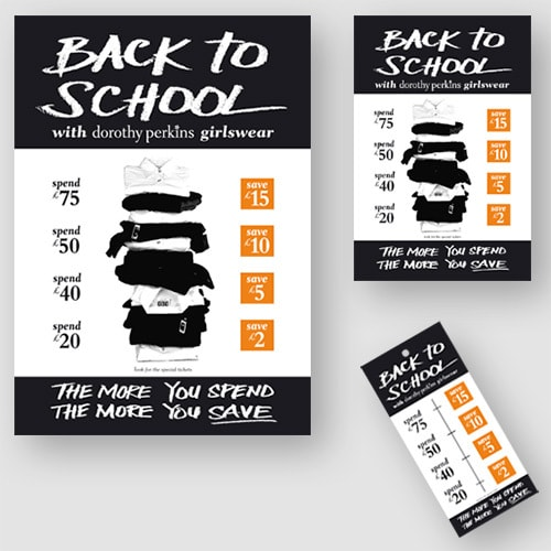 Dorothy Perkins Back to School promotional design materials