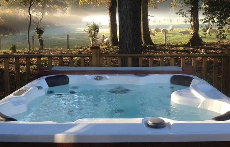 Hot tub with field of animals lifestyle photography for Dream Lodge Promotions Design Loyalty Club