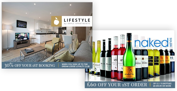 Wines and 1st booking offers promotional design for Dream Lodge Loyalty