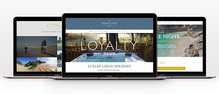 Laptops showing different website design pages for Dream Lodge Loyalty