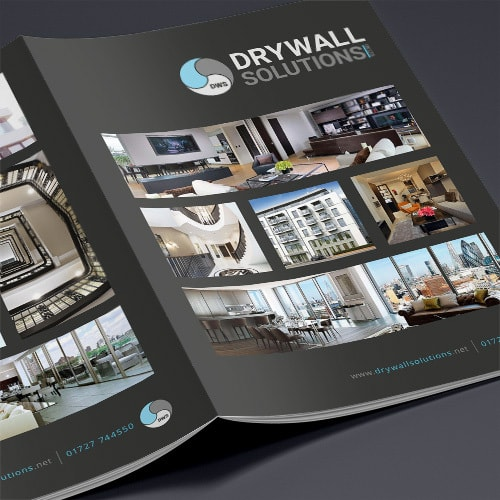 Opened Drywall Solutions black brochure showing the Front and back print design Thumbnail