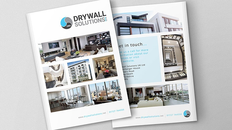Front and back Drywall Solutions white brochure print design