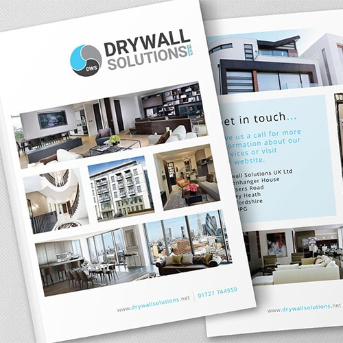 Front and back Drywall Solutions white brochure print design Thumbnail