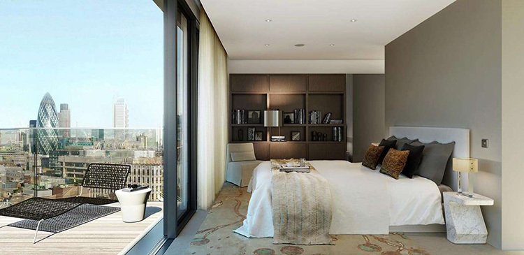 Modern bedroom with view of London photography for Drywall Solutions