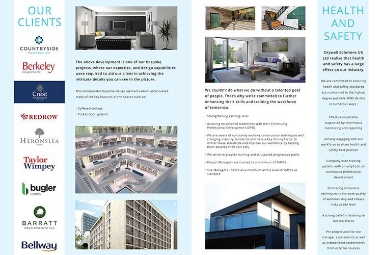 Inside spread artwork for Drywall Solutions brochure design