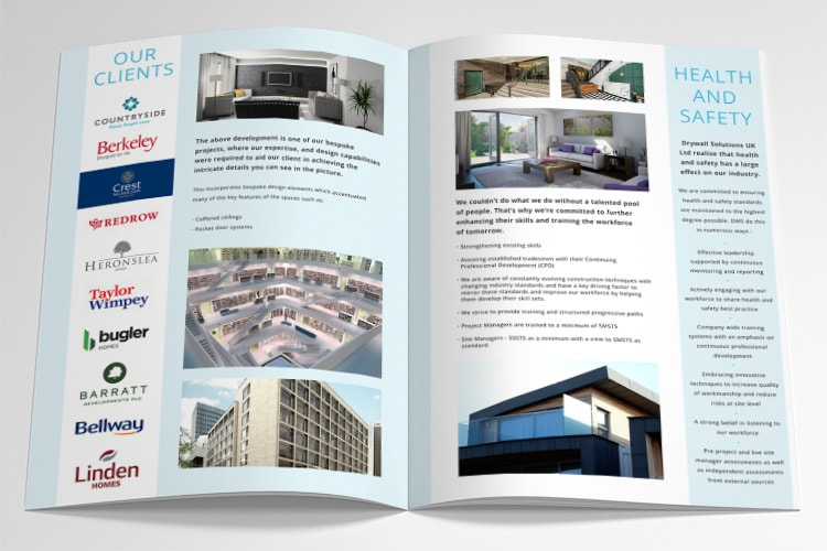 Drywall Solutions brochure opened showing the spread