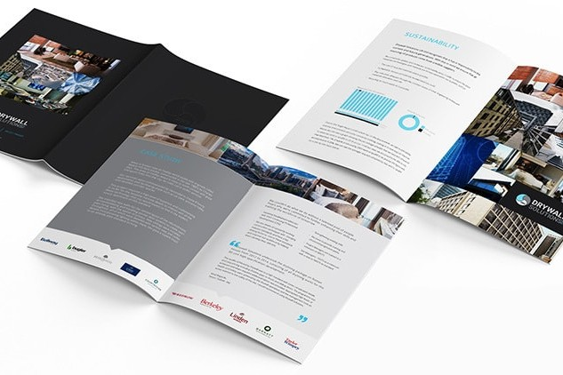 Opened Drywall Solutions black brochure showing the Front,back and spreads print design