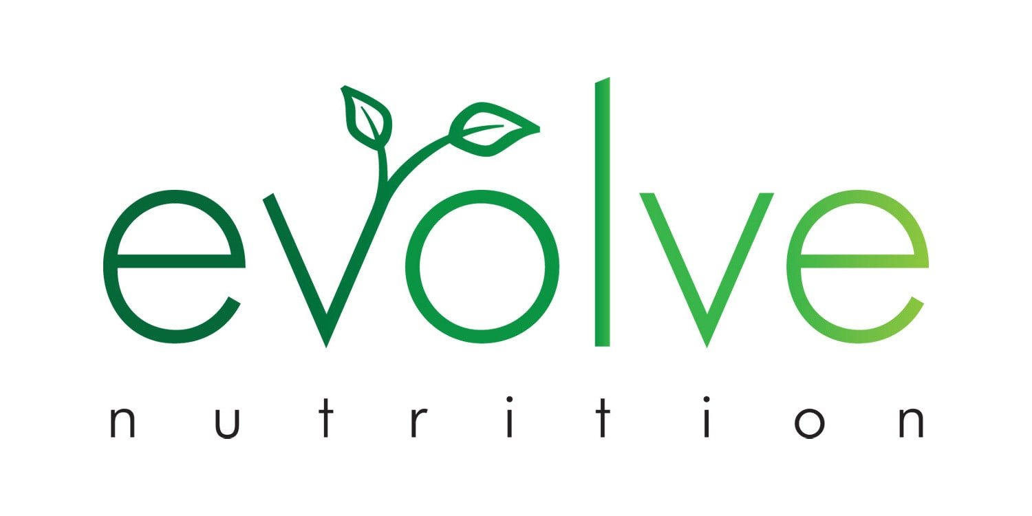 Evolve Nutrition branding design with leaves coming out the letter v