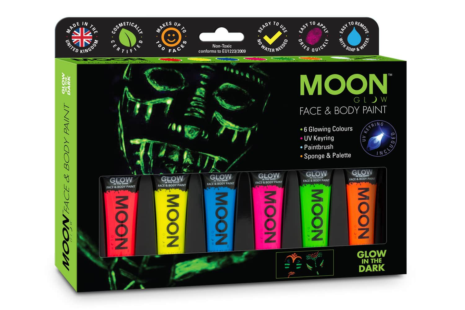 Face Paint Glow packaging design with glow in the dark face