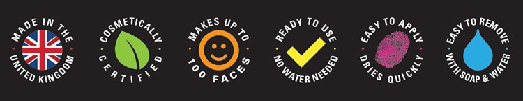 Informative set of icons designed for Face paint product packaging