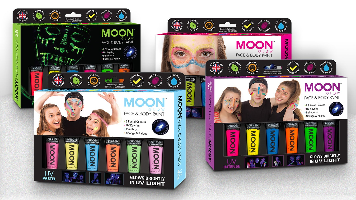 Face paint packaging design set
