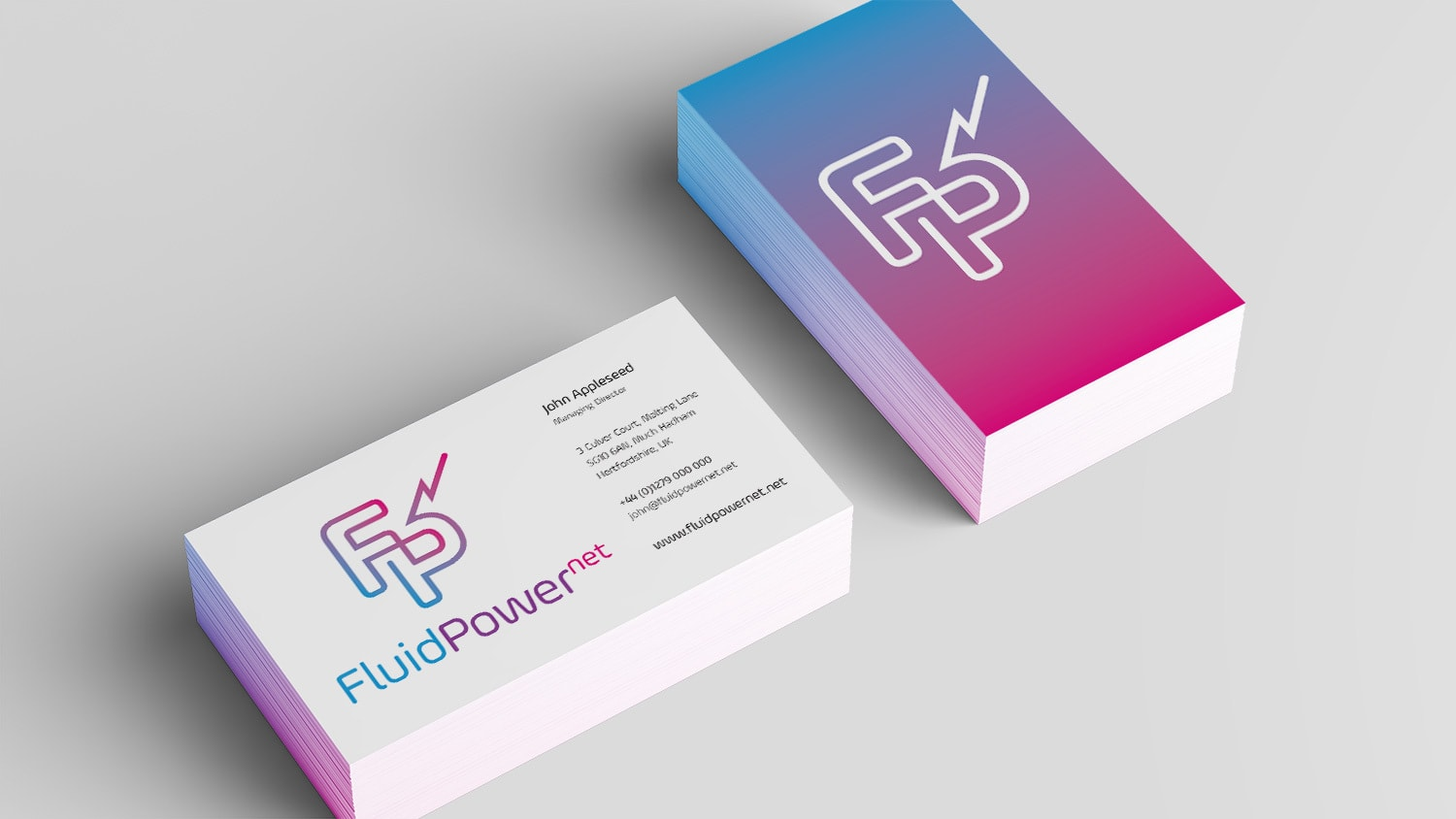 Branding design business cards for Fluid Power Net