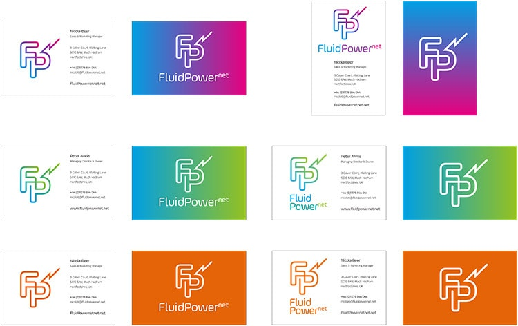 Flat artwork for Fluid Power Net business cards Branding design