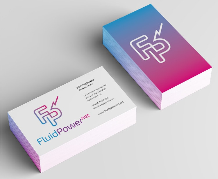 Branding design business cards for Fluid Power Net