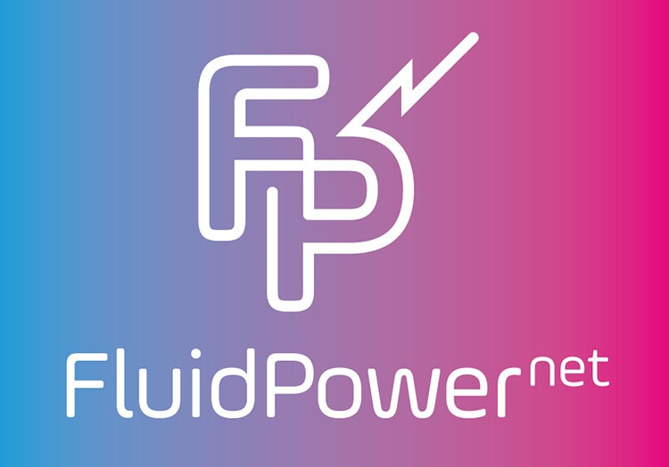 Blue and Pink gradient of Fluid Power Net logo design