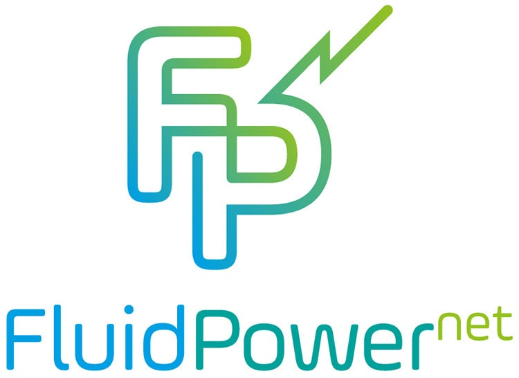 Green gradient logo design with white background for Fluid Power Net
