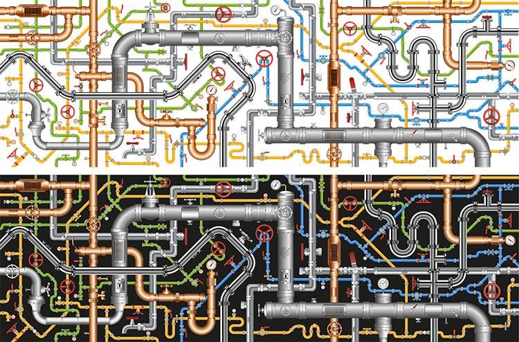 Fluid Power Net illustration of pipes for website design