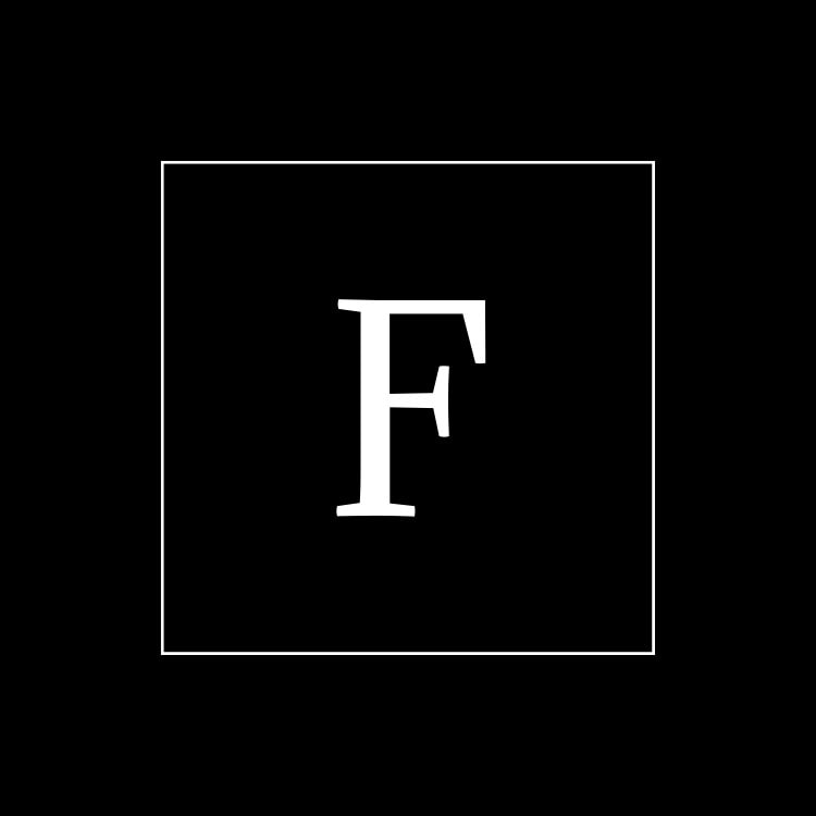 Square Fredericks of London symbol branding design reversed