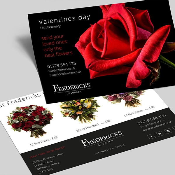 A5 valentines day leaflet print design with red rose and flowers