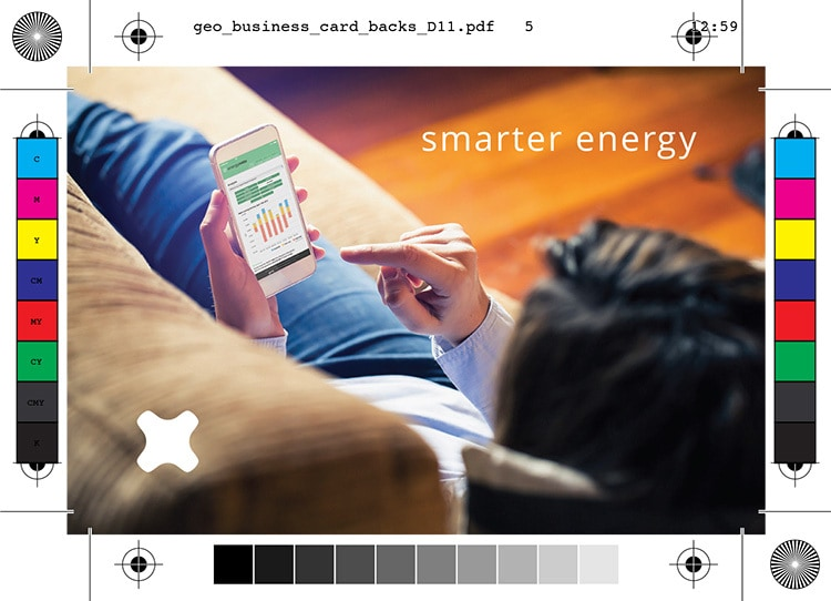 Geo smarter energy branding design back of business card showing a person using a mobile phone