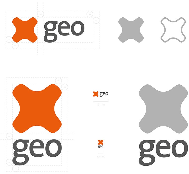 Construction and brand guidlines of GEO logo design
