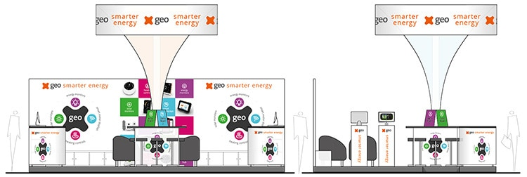 Exhibition Design flat front view for GEO smarter energy Vienna Exhibition