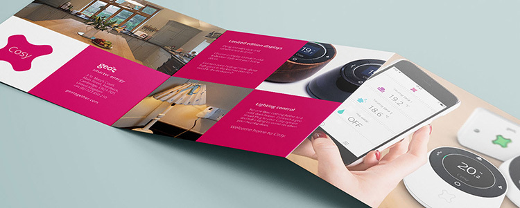 Open GEO cosy brochure design spread showing Cosy products