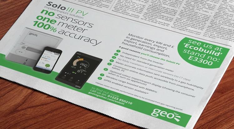 Newspaper advert design for GEO