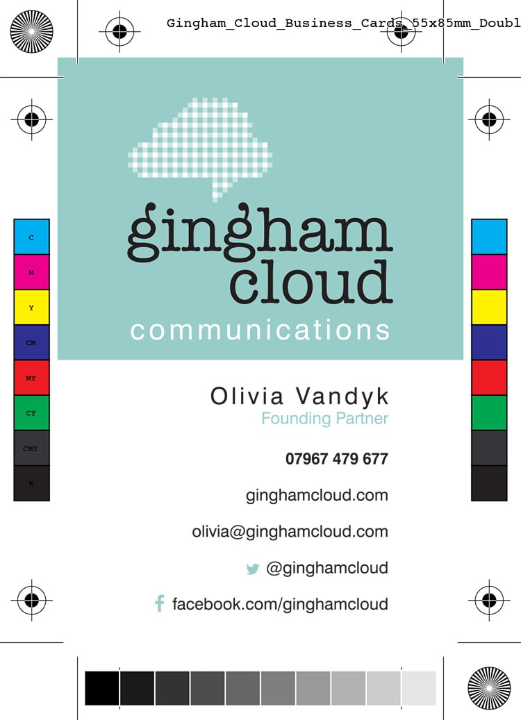 Business card front artwork with bleed for Gingham Cloud