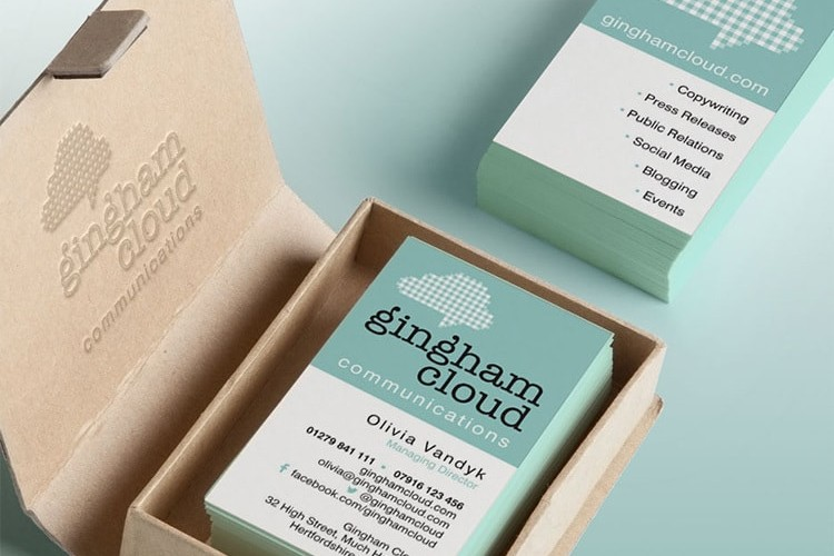 Business cards front and back in cardboard box with Gingham Cloud branding
