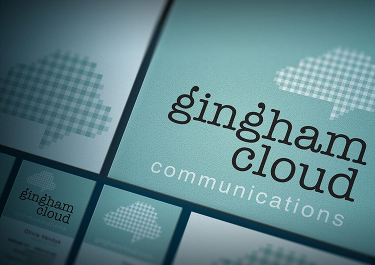 Close-up of Gingham cloud branding design elements