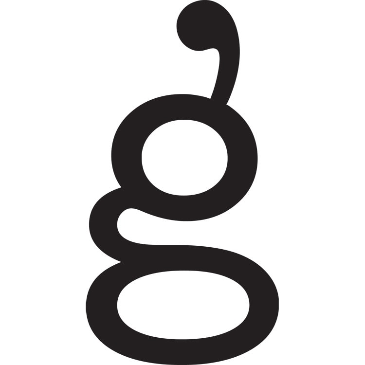 Gingham Cloud serif 'g' symbol with unique speech marks styling