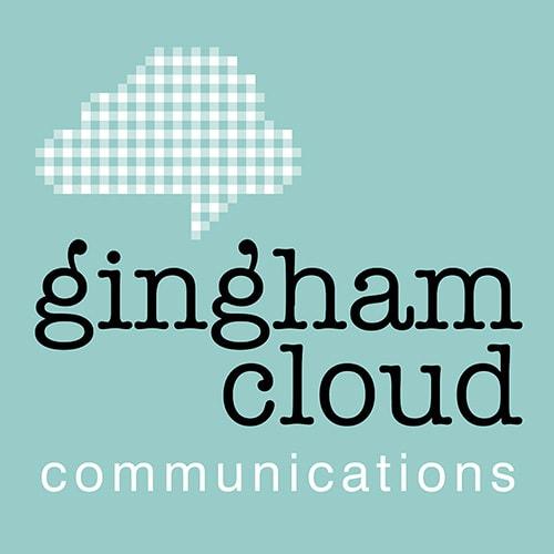 Portrait negative Gingham Cloud logo design Thumbnail