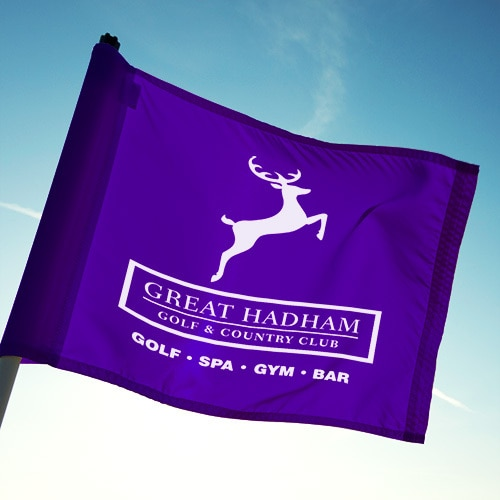 Great Hadham Country Club portrait logo design on a purple flag