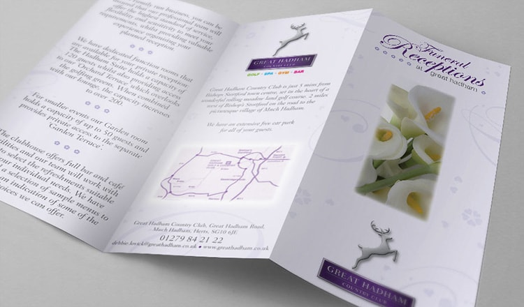 Funeral leaflet print design for Great Hadham Country Club