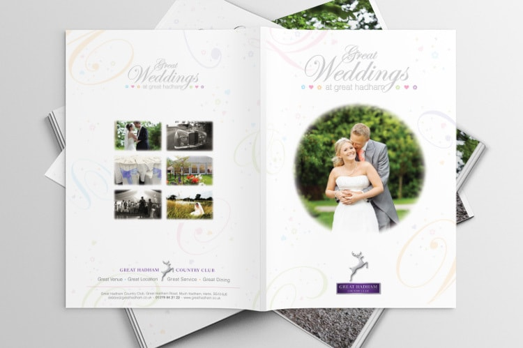 Great Weddings Brochure front and back print design for Great Hadham Country Club