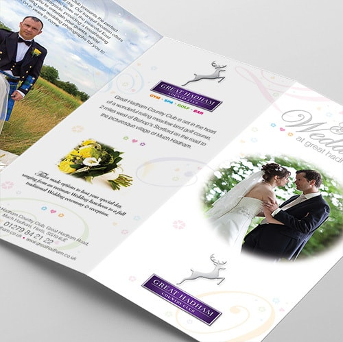 Great Weddings leaflet open spread print design for Great Hadham Country Club Thumbnail