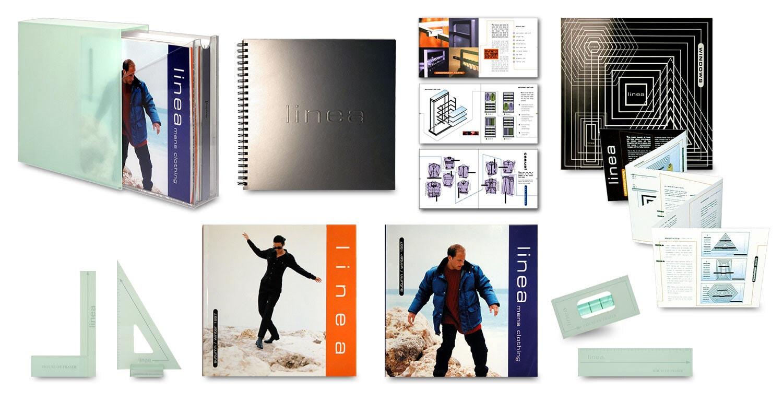 Linea Magazine and brochure with acrylic sandblasted box Print Design for House of Fraser