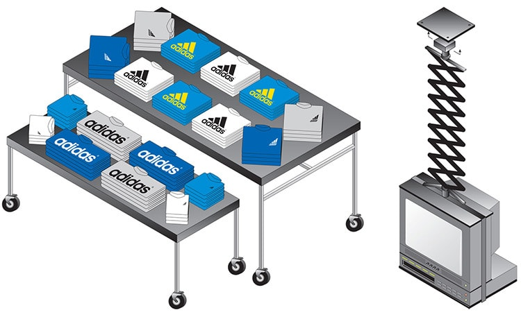 House of Fraser Sports illustration of fixtures and fittings for Adidas clothing
