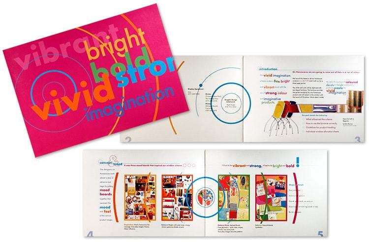 Vivid Imagination promotional display booklet design for House of Fraser