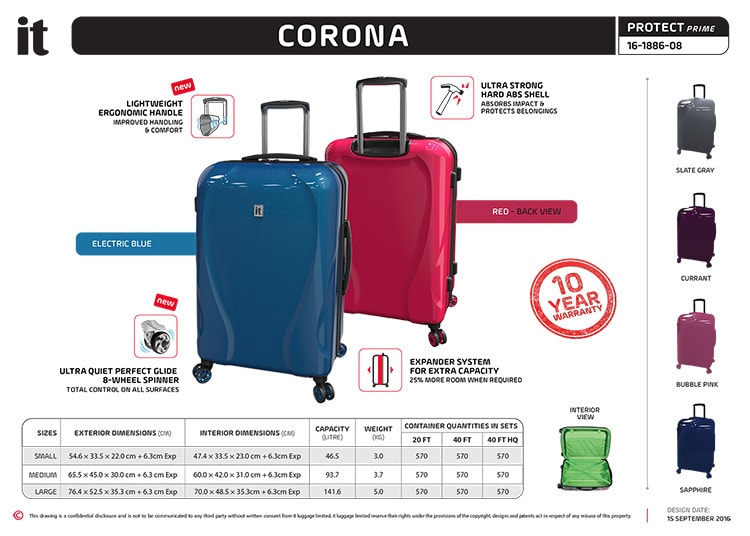 Corona core presentation sheet Print design for IT Luggage
