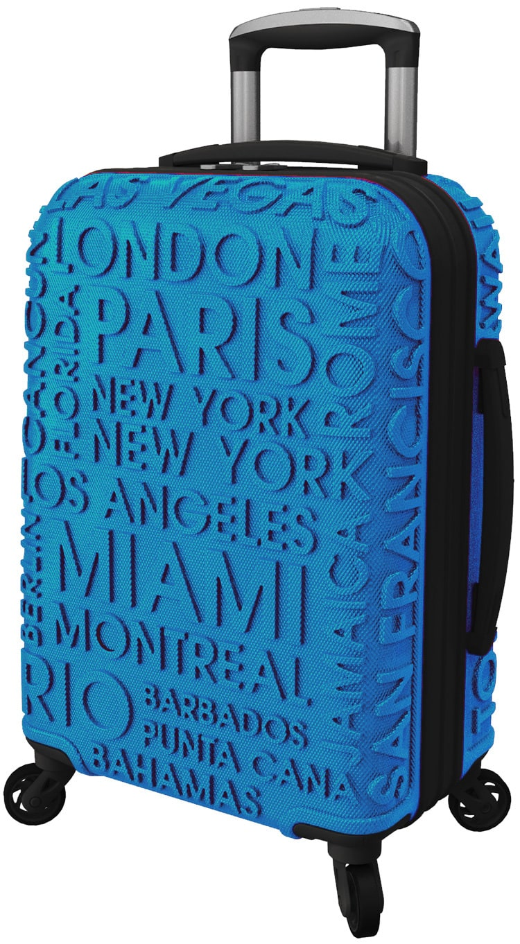 Blue Luggage with embossed locations of America photography for IT Luggage