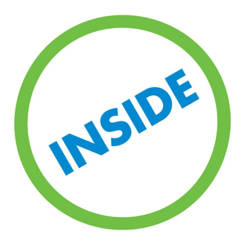 Enlarged green 'O' with the word 'inside' embedded inside for Inside Out Architect logo design