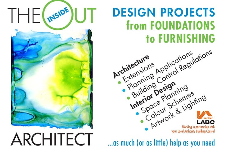 Back of A6 postcard design for Inside Out Architect