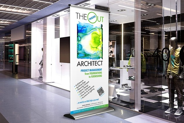 Pop-up banner for Inside Out Architect outside a store