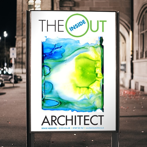 Illuminated poster design for Inside Out Architect outside a building Thumbnail