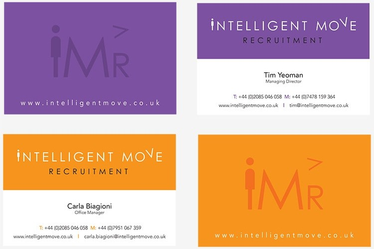 Intelligent Move Recruitment branded business cards in Orange and purple variation
